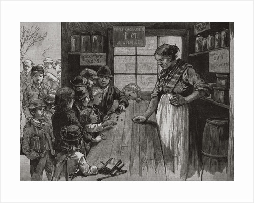 Storekeeper Watching Young Children Roll Dice for Treats by Corbis