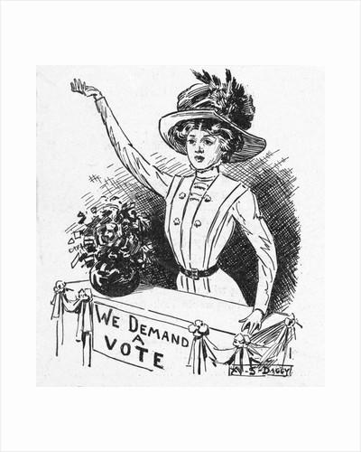 Political Cartoon on Suffrage Movement by Corbis