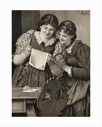 Early Drawing of Young Ladies Sharing Handwritten Communication by Corbis