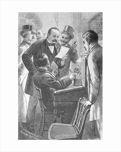 Drawing Depicting Grover Cleveland and Officials Examining Ballot Results by Corbis