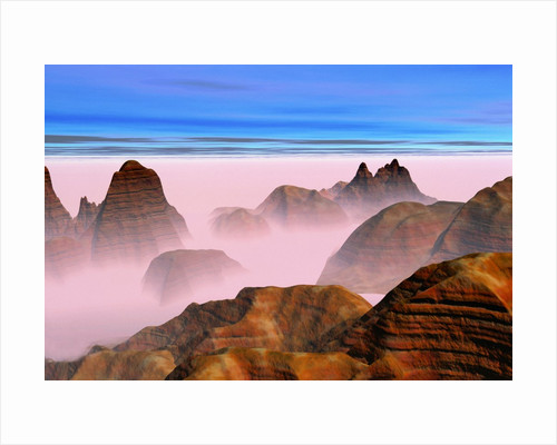 Mist over Rock Formations by Corbis