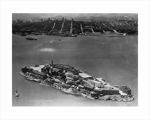 View of Federal Penitentiary at Alcatraz Island With Surrounding Water by Corbis