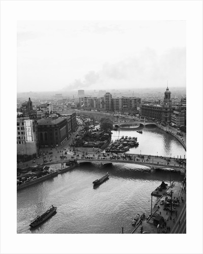 Overview of Shanghai, Fire in Background by Corbis