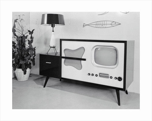 Early Model Radio Television in Home by Corbis