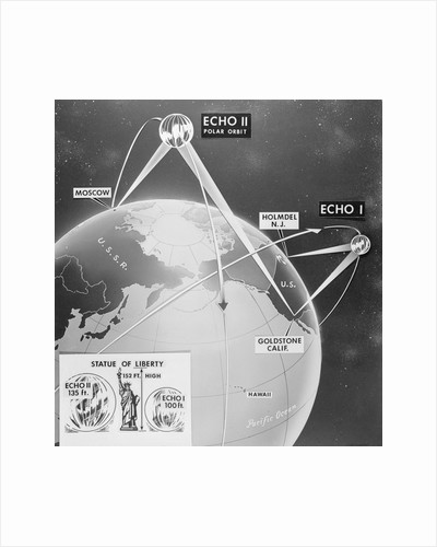 Illustration Showing Earth and Telstar Communication Satellites Sites by Corbis
