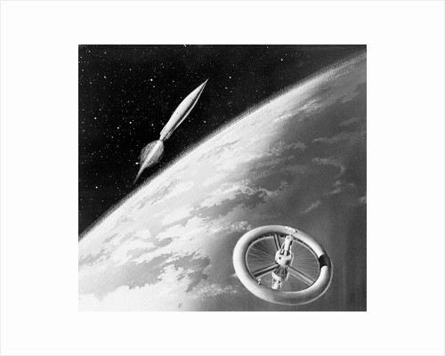 Illustration of a Rocket and Space Station Above Earth by Corbis