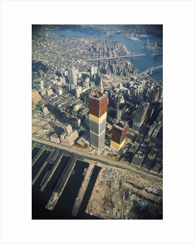 Twin Towers Under Construction by Corbis