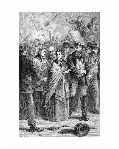 Print of Lucretia Mott Being Protected from Angry Male Mob by Corbis