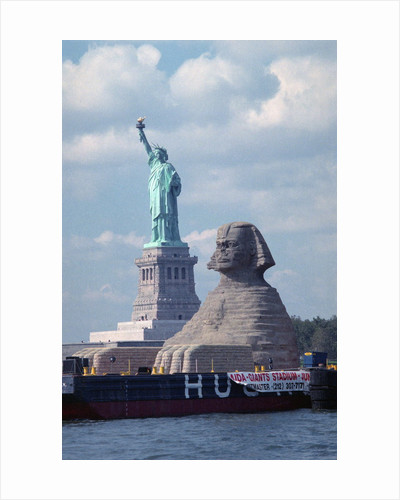 Giant Sphinx Replica and Statue of Liberty by Corbis