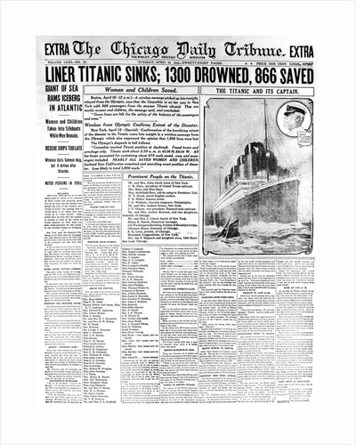 Chicago Daily Tribune Headlining the Titanic Disaster by Corbis