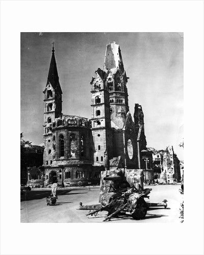 View of Street with Damaged Church and a Weapon of War by Corbis