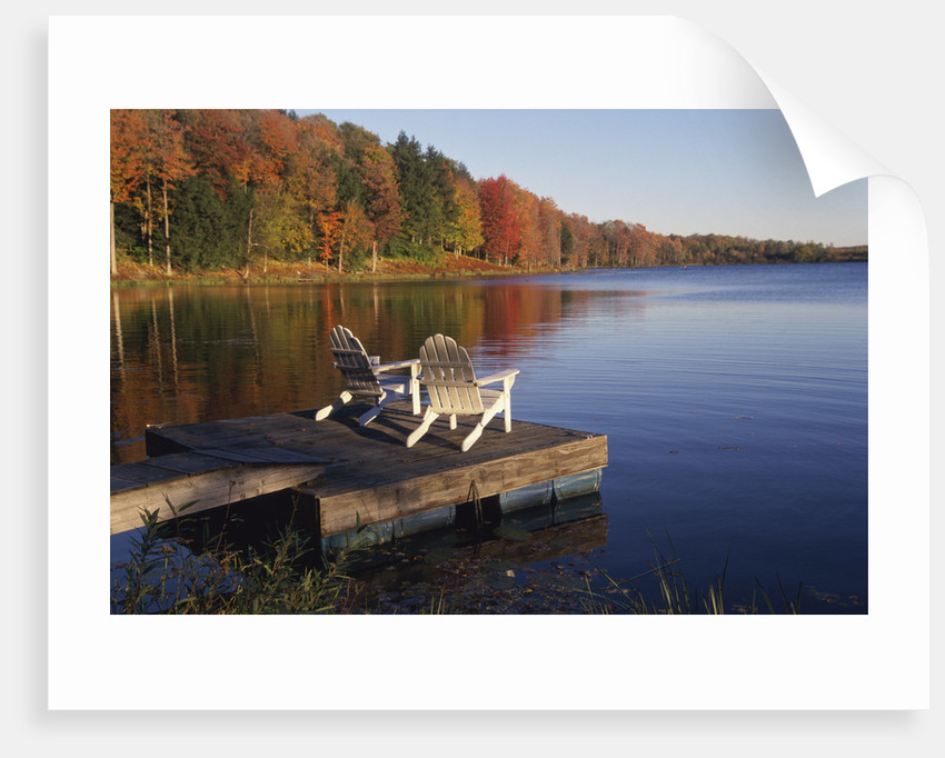 Adirondack Chairs on Dock at Lake by Corbis