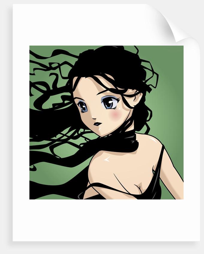 Wind Blown Anime Girl by Corbis