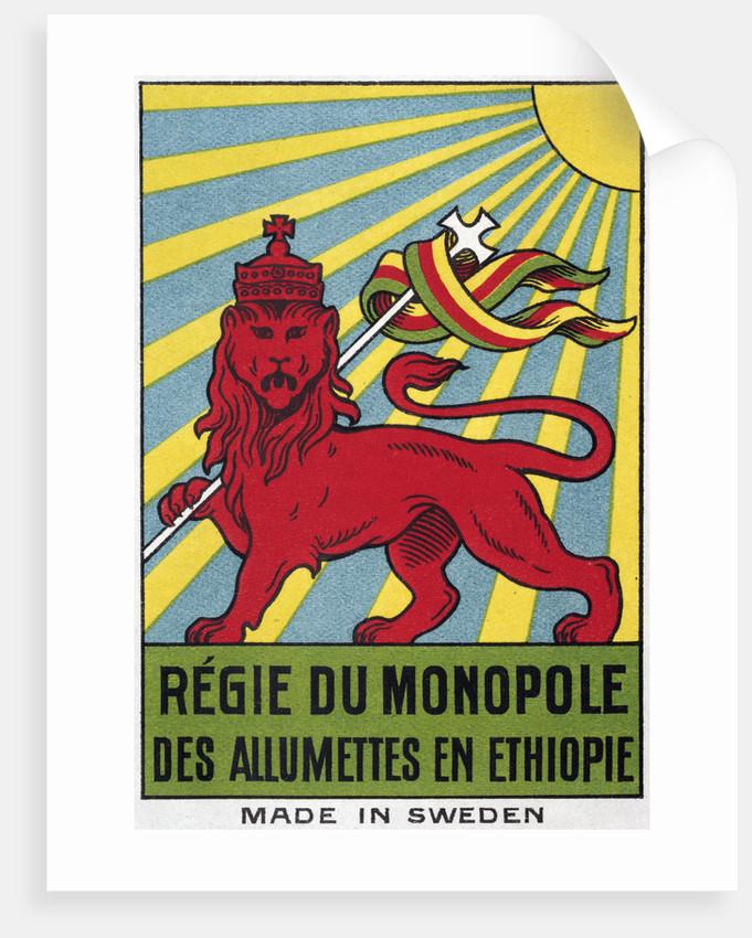 Swedish Matchbox Label With Ethiopian Lion By Corbis