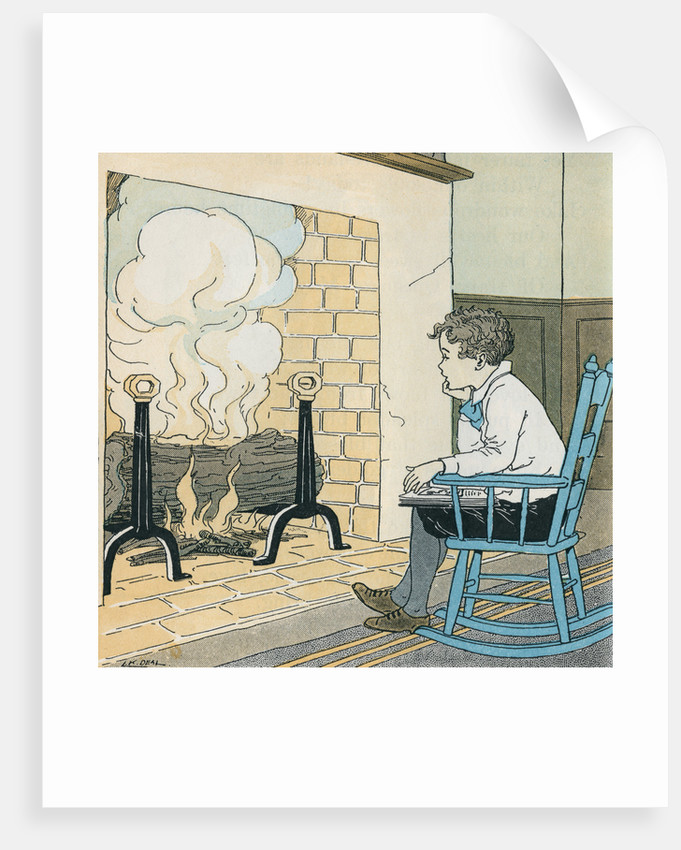 Illustration of a Boy in a Rocking Chair by Kate L. Deal