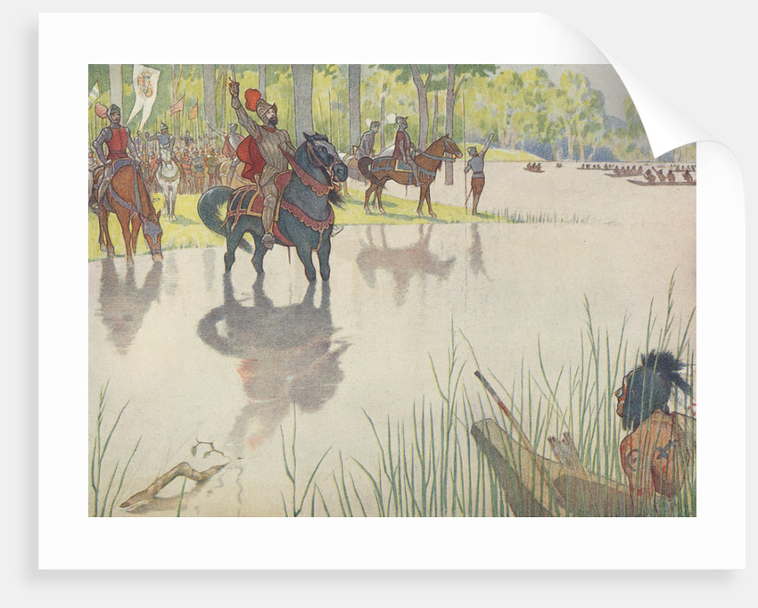 Book Illustration of Hernando de Soto at the Mississippi River by E. Boyd Smith