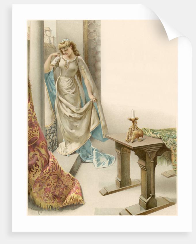 Illustration of Juliet Watching Romeo Depart by Oreste Cortazzo