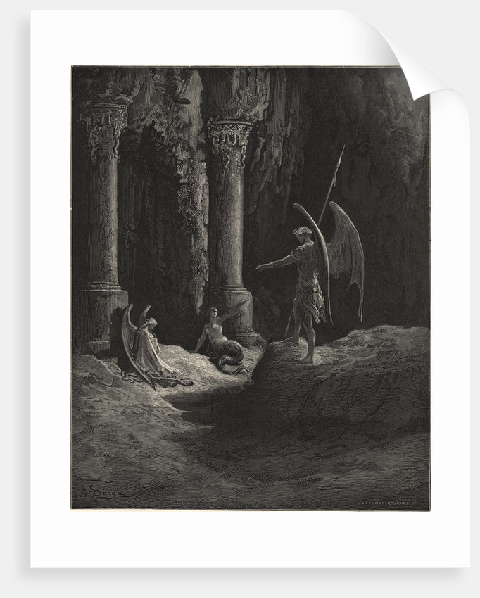 Before the Gates There Sat on Either Side a Formidable Shape by Gustave Dore