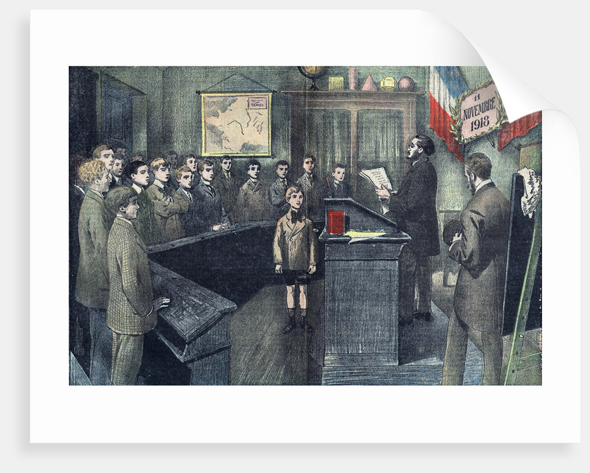 Illustration of French Schoolchildren Honoring Armistice Day by Corbis
