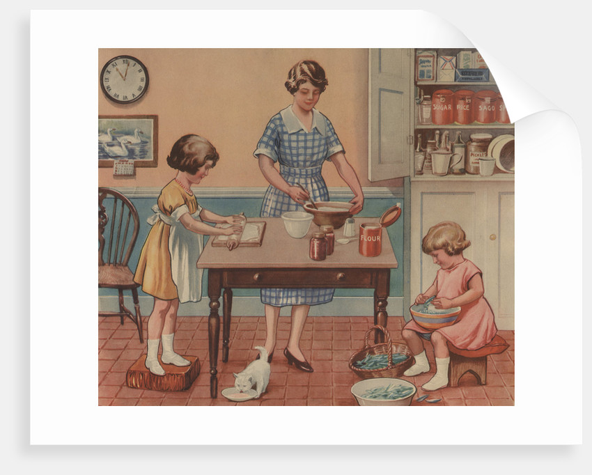 """Illustration, """"Helping Mother"""" by Corbis"""