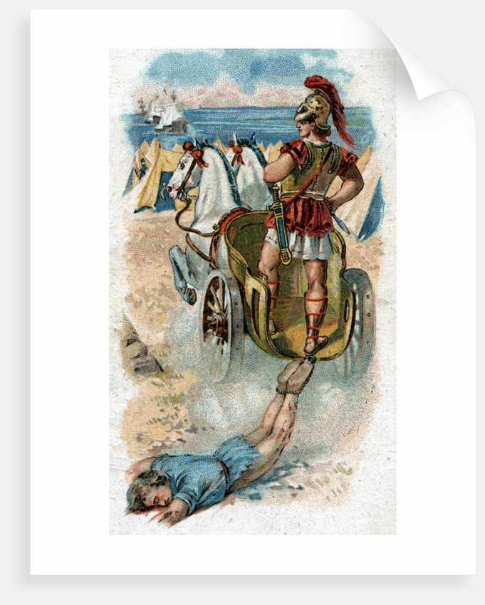 Illustration of Achilles Dragging the Body of Hector Behind His Chariot by Corbis
