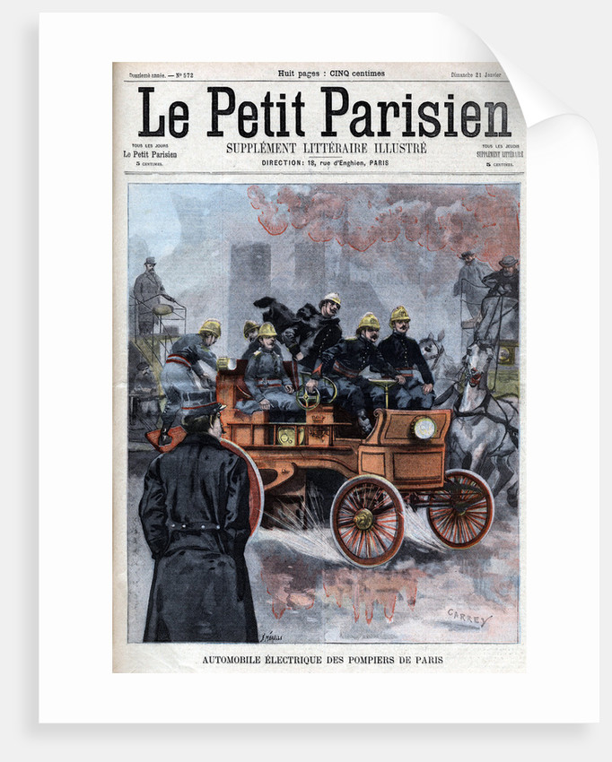 Illustration of French Firemen's Electric Automobile by Corbis