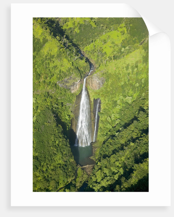 Aerial View of Waterfall in Waimea Canyon by Corbis