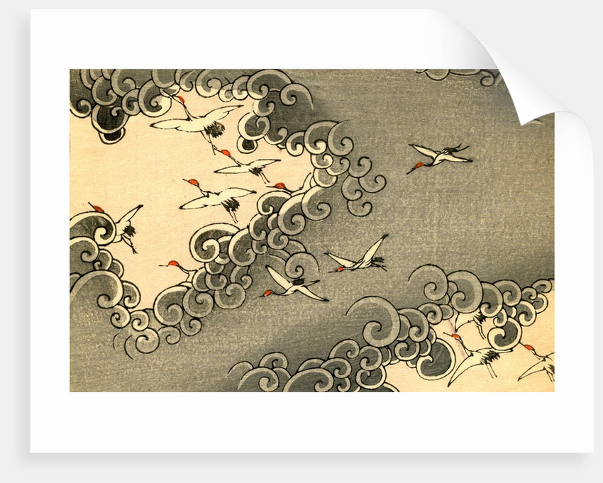 Illustration of Cranes Flying in Grey Clouds by Corbis
