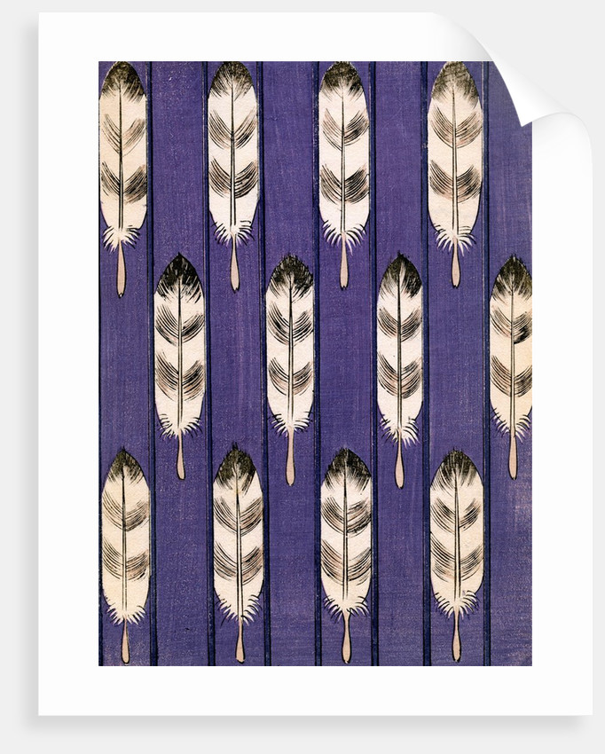 Illustration of Feathers on a Lavender Geometric Background by Corbis