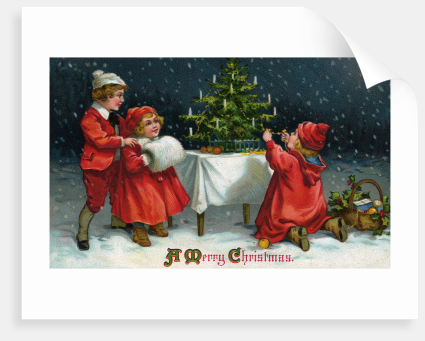 Christmas Postcards.A Merry Christmas Postcard With Children Decorating Christmas Tree