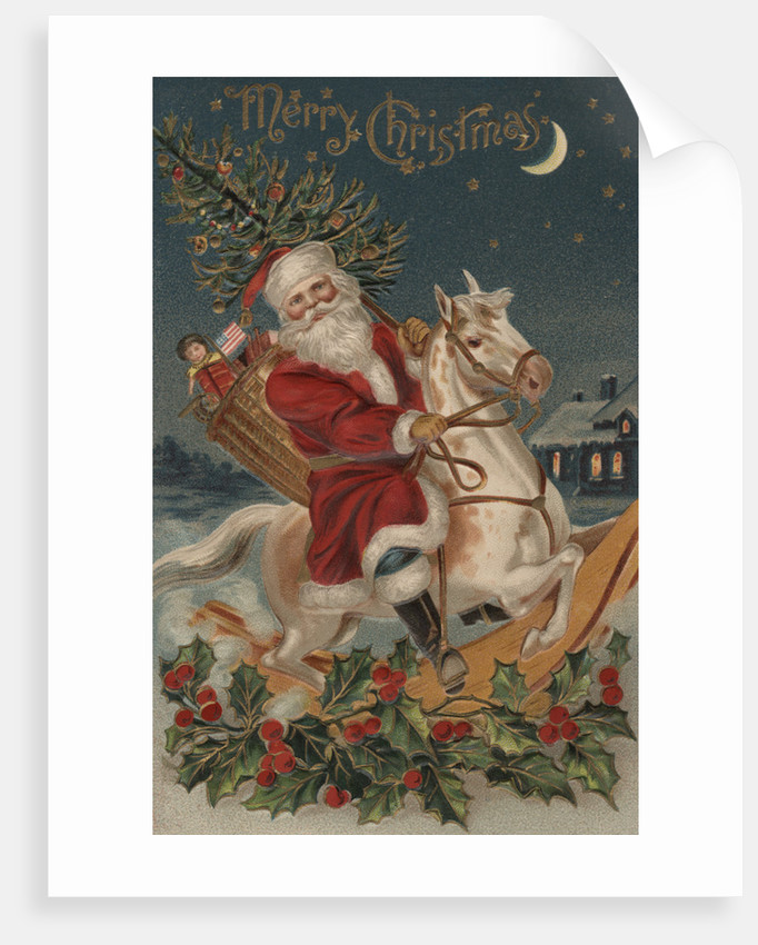 Merry Christmas Postcard with Santa on Rocking Horse by Corbis