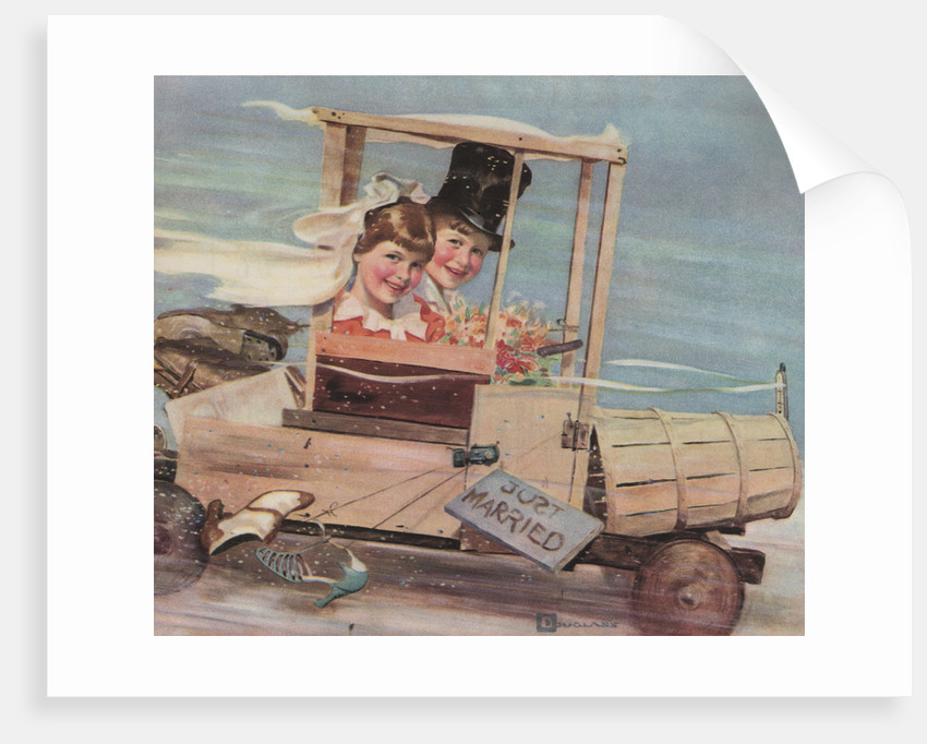 Illustration of Young Couple in a Soap Box Car by Douglass Crockwell