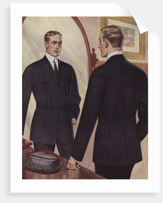 royal tailors illustration of man looking in mirror posters prints