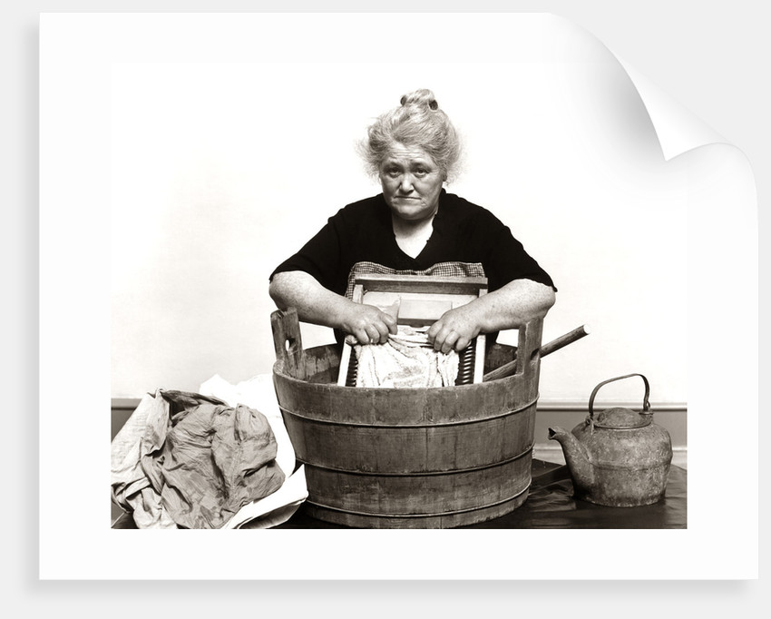 1930s 1940s Senior Woman Washing Clothes In Old Fashioned Wooden Tub And Washboard by Corbis