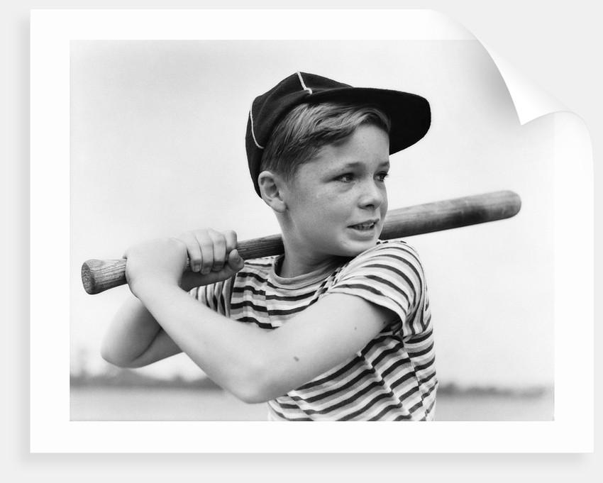 1930s Boy At Bat Wearing A Horizonal Striped Tee Shirt and Baseball Cap by  Corbis 6792ed742a4