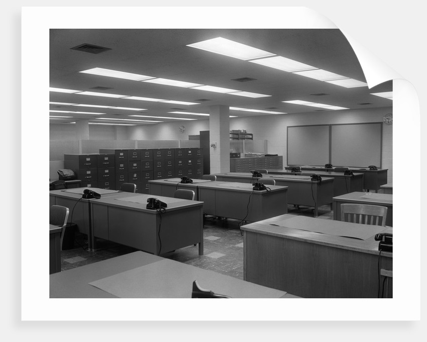 1950s 1960s Office With Desks Black Phones And File Cabinets by Corbis