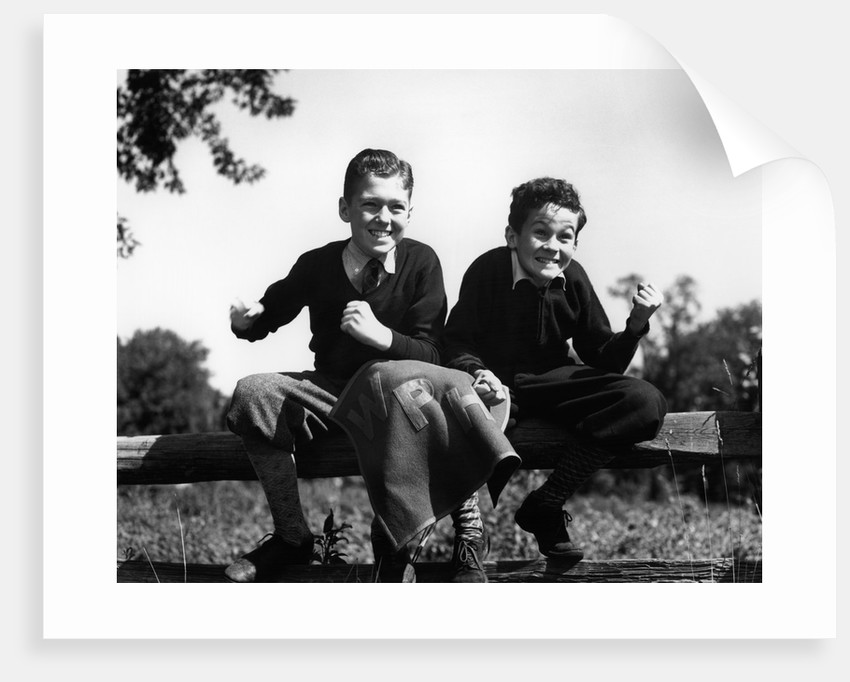 1930s 1940s Two Excited Boys Cheering Sports Team Holding School Letter Pennant Retro Vintage by Corbis