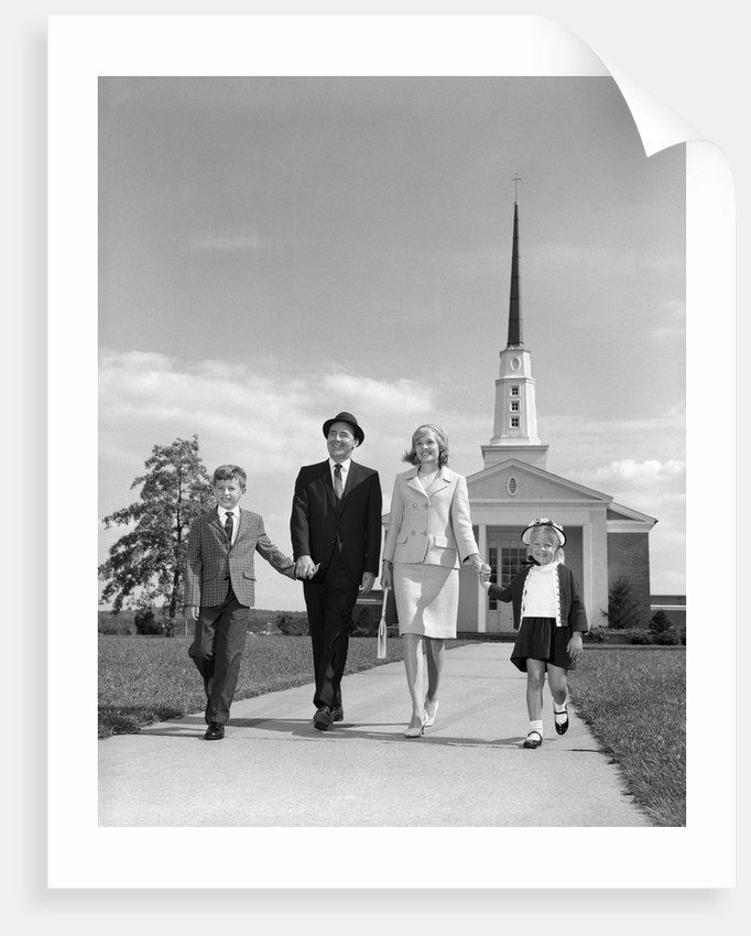 1960s family walking from church by corbis