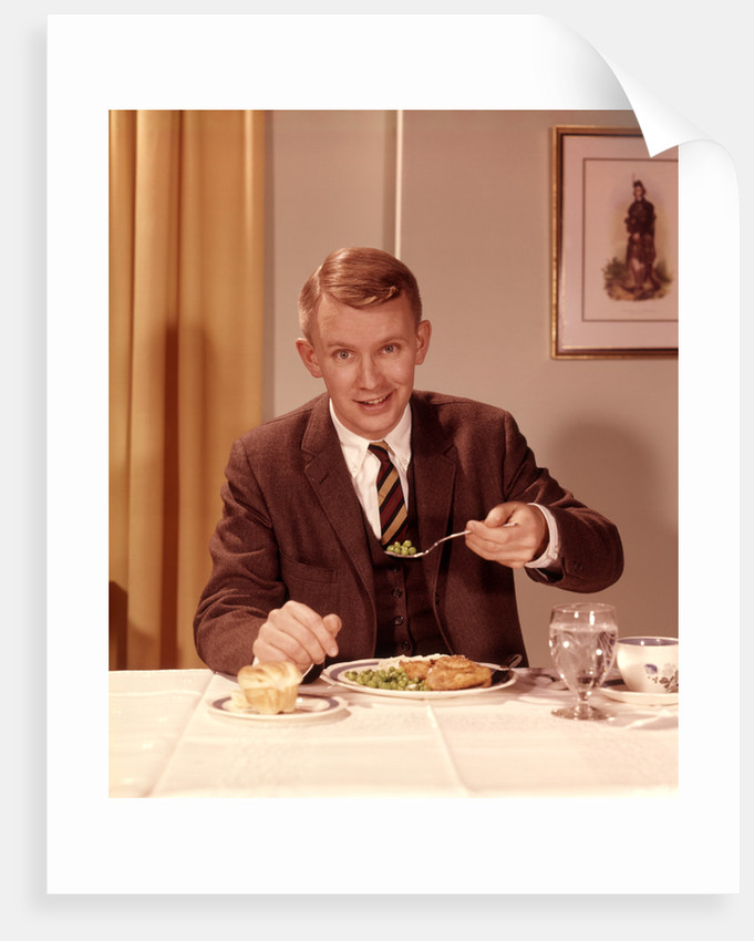 Amazing 1960S Man Eating Dinner At Table With Fork Full Of Peas Download Free Architecture Designs Embacsunscenecom
