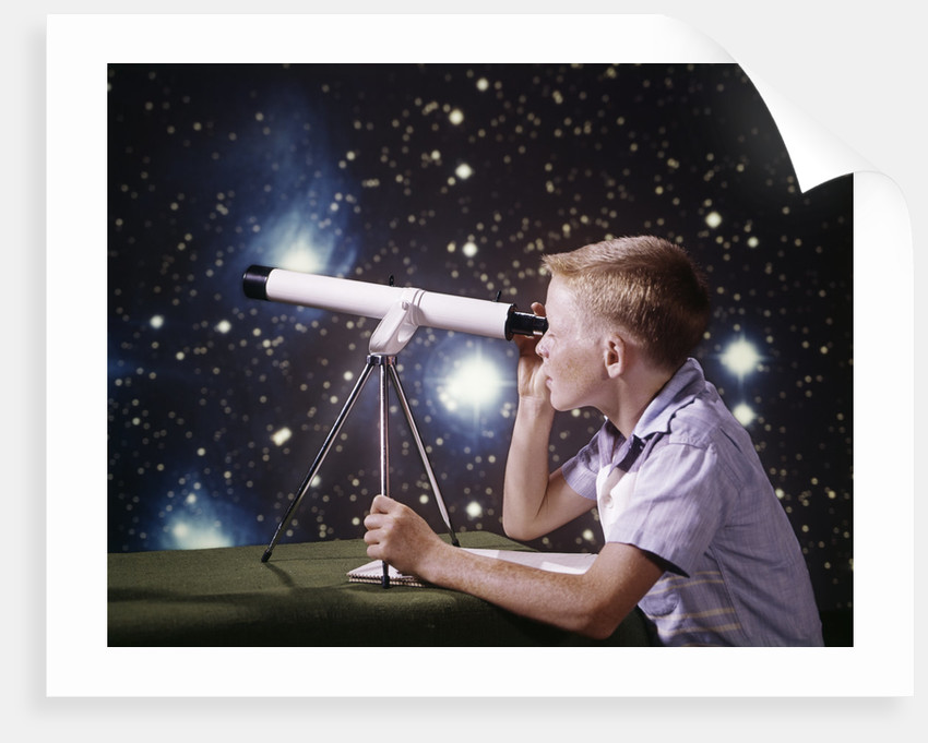1960s composite boy with telescope on table looking at night sky