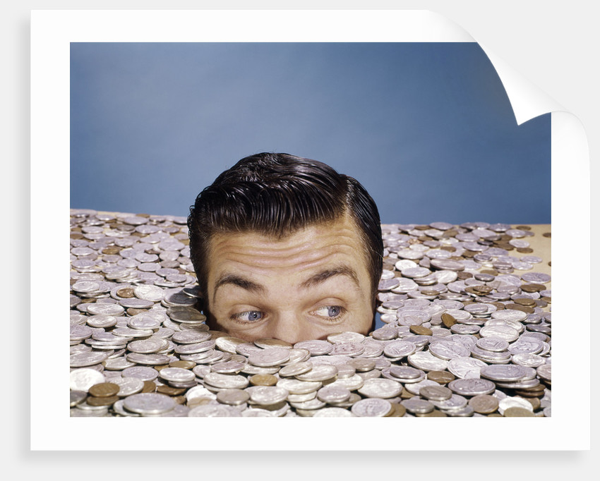 1960s Top Of Head And Eyes Of Man Looking Out From Pile Of Coins Studio  Symbolic Currency