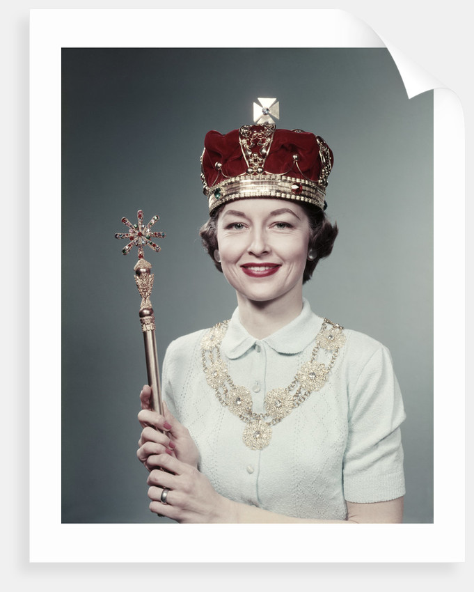 1950s Woman Wearing A Crown Holding A Scepter, Special Queen For Day by Corbis