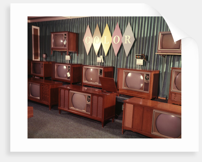 1960s Display Of Color Television Sets For Sale In Department Store by Corbis
