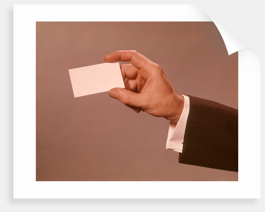 1960s 1970s Man Hand Holding Blank Business Card posters & prints by ...