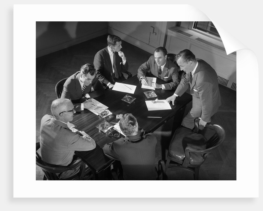 1950s Six Men Businessmen Salesmen In Suits Meeting Around Conference Table by Corbis