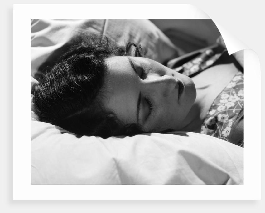 1920s 1930s Brunette Woman Head On Pillow Sleeping Asleep by Corbis