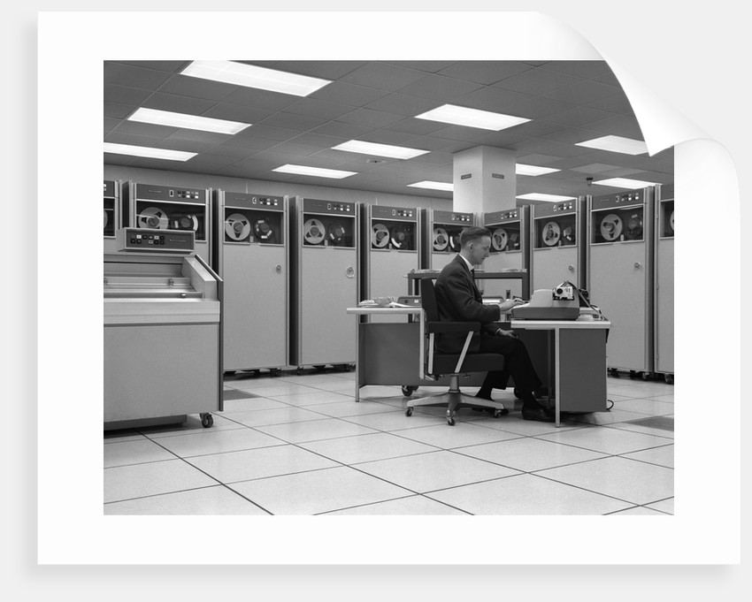 1960s Man Programing Mainframe Computer At Control Room Console ...