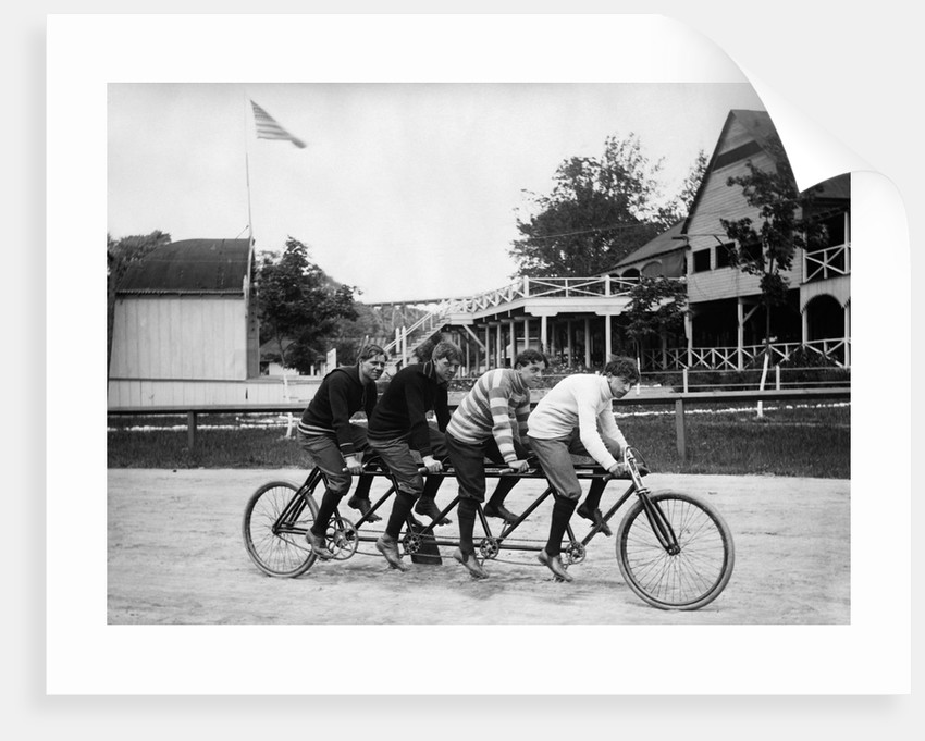 1890s 1900s 4 Men Riding Racing Quadricycle Four Seat Bicycle