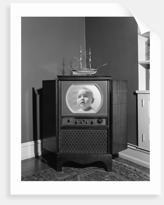 1940s 1950s Console Black And White Television Set by Corbis