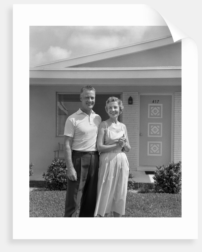 1950s Older Man Woman Senior Citizen Standing Together In Retirement Home Front Yard by Corbis